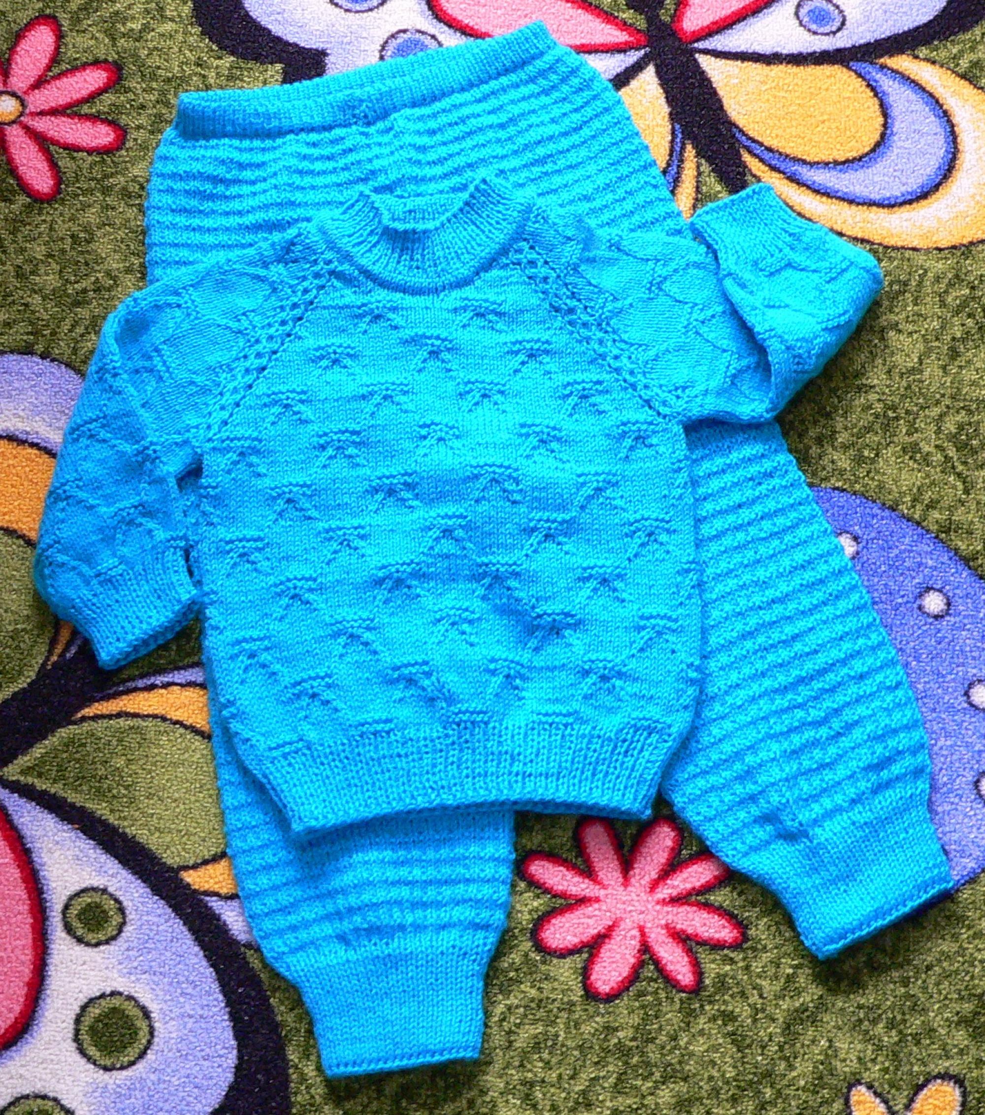 Как связать спицами штанишки для малыша 45